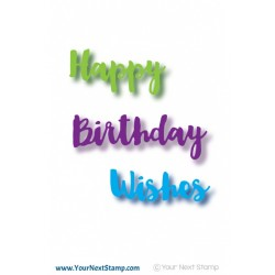 Fustella Your Next Stamp - Scripty Happy Birthday Words