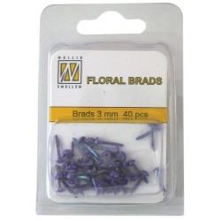 Mini Brads ferma campione Nellie Snellen - Floral glitter brads - purple