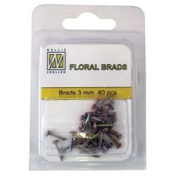 Mini Brads ferma campione Nellie Snellen - Floral glitter brads - brown