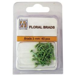 Mini Brads ferma campione Nellie Snellen - Floral glitter brads - green