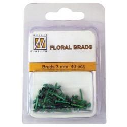 Mini Brads ferma campione Nellie Snellen - Floral glitter brads - bottle green