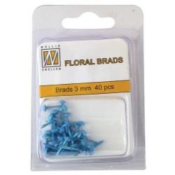 Mini Brads ferma campione Nellie Snellen - Floral glitter brads - blue