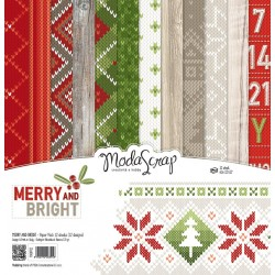 "Kit carte ModaScrap -12""x 12"" MERRY AND BRIGHT"