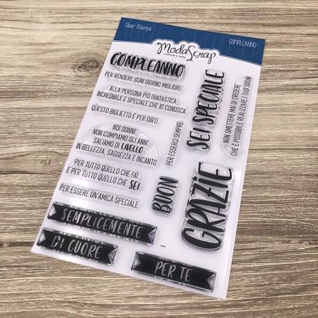Timbro Clear ModaScrap Clear Stamps - GRAZIE