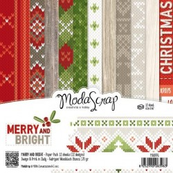 "Pad Carte 6"" x 6""  ModaScrap - MERRY AND BRIGHT"
