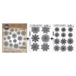 Bundle Fustelle e Timbri coordinati Tim Holtz - Swirly Snowflakes