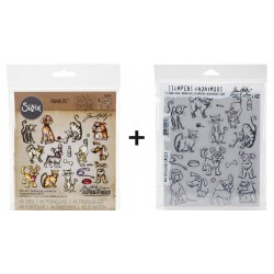 Bundle Fustelle e Timbri coordinati Tim Holtz - Mini Crazy Cats & Dogs
