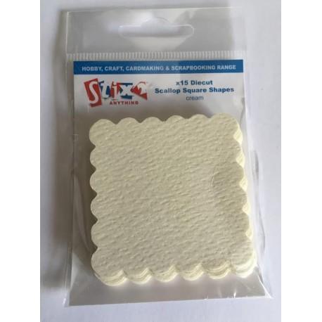 Die Cut Scallop Square Shapes - 15 pezzi - Cream - Stix2