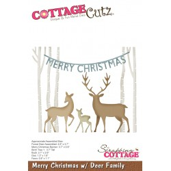 Fustella Cottage Cutz - Merry Christmas w/ Deer Family