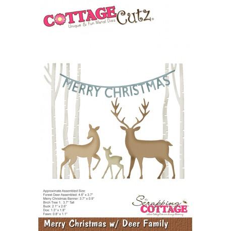 Fustella Cottage Cutz - Merry Christmas w/ Deer Family