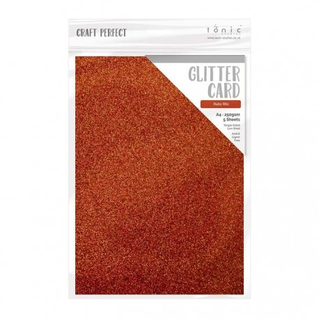 Cartoncino glitterato - 5 fogli formato A4 - ROSSO