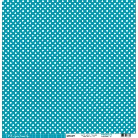 Cartoncino petits pois - Turquoise