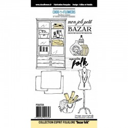 "Timbro Cling - Chou & Flowers - ""BAZAR FOLK"""