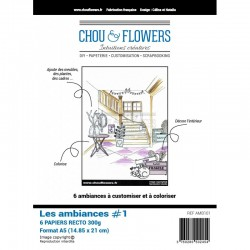 "Set 6 Carte - Chou & Flowers - ""LES AMBIANCES 1"""