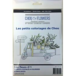 """Set 6 Carte - Chou & Flowers - """"LES PETIT COLORIAGES DE CHOU"""""""