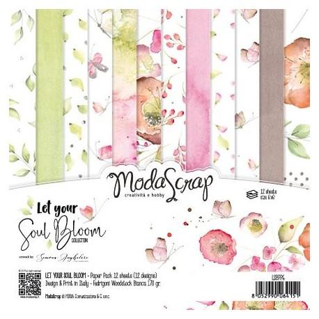 """Kit carte ModaScrap -12""""x 12"""" LET YOUR SOUL BLOOM"""