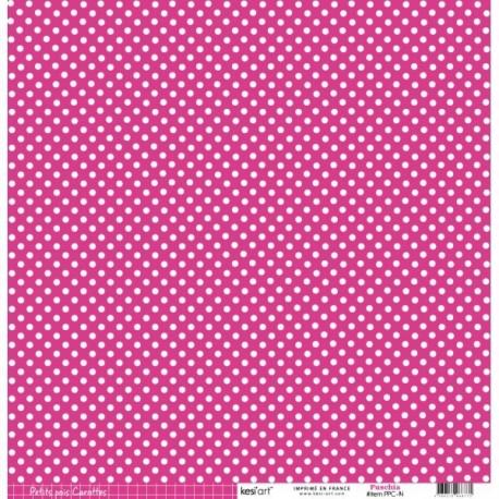 Cartoncino petits pois - Fuschia