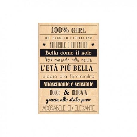 Timbro legno Florileges - 100% girl