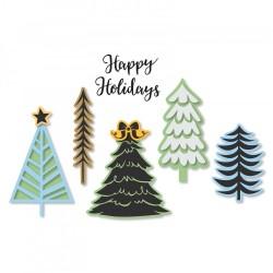 Fustella e Timbro   Sizzix Framelits - Die Set 9PK w/Stamps - Winter Trees
