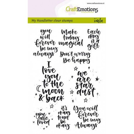 CraftEmotions - Timbro Clear  - Handletter Happy Feelings