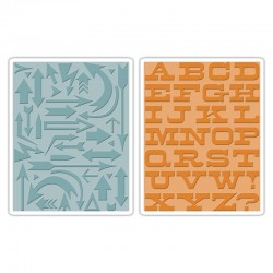 Embossing Folder Tim Holtz - Arrows & Boardwalk Set