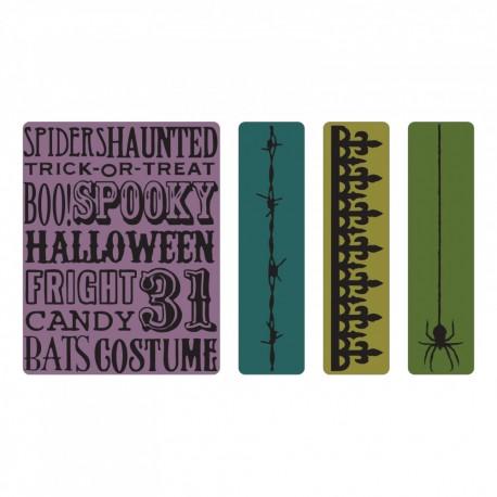 Sizzix - Embossing Folder - Halloween Background & Borders Set