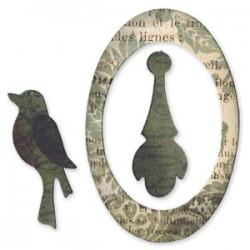 Fustella Sizzix Originals - Oval frame, bird & pendant