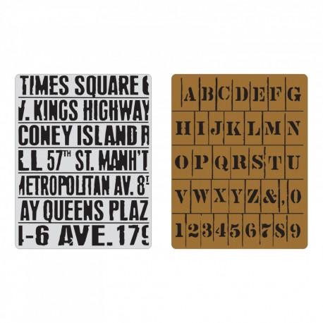 Sizzix  - Embosing folder - Subway & Stencil Set