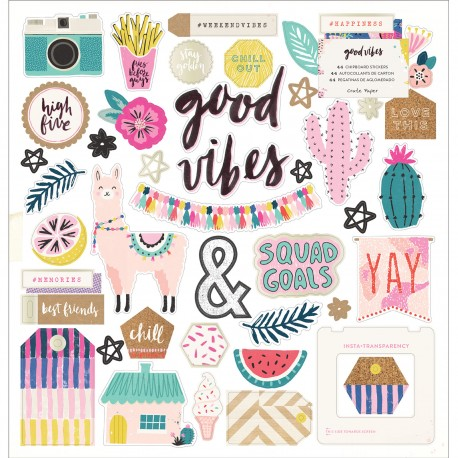 Crate Paper- Chipboard Stickers - Good Vibes