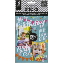 Me&My Big Ideas Mambi Sticks - Stickers Clear - Birthday