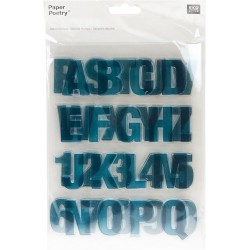 Paper Poetry - Timbri Clear - Alphabet Petrol Blu
