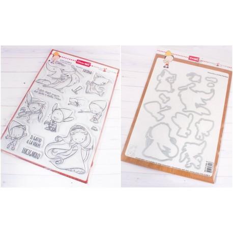 Bundle Fustelle e Timbri coordinati Impronte d'Autore - Pinocchio e la Fata Turchina