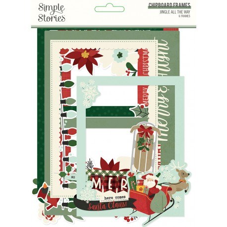 Simple Stories - Chipboard Frames -Jingle All the Way