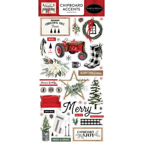 Carta Bella - Chipboard Accents Stickers - Farmhouse Christmas