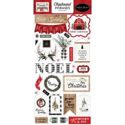 Carta Bella - Chipboard Phrases Stickers - Farmhouse Christmas
