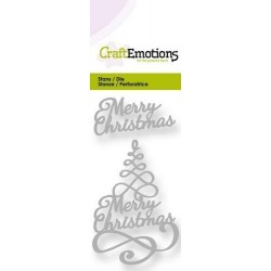 Craft Emotions - Fustella - Christmas tree Merry Christmas 3d Swirl