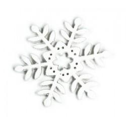 Renkalik - Abbellimenti - SNOWFLAKE GRANDE IN LEGNO BIANCO GLITTERATO