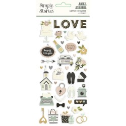 Simple Stories - Puffy Stickers - Happily Ever After