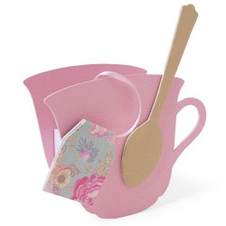 Sizzix - Fustella ScoreBoards L Die Box - Teacup, 3-D & Spoon