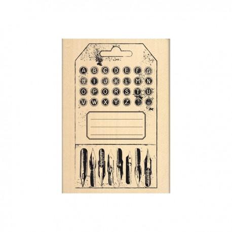 Timbro legno Florileges - Tag alphabet vintage