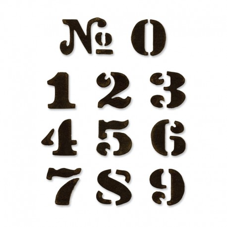 Fustella Sizzix M&S Cargo Stencil Number Set