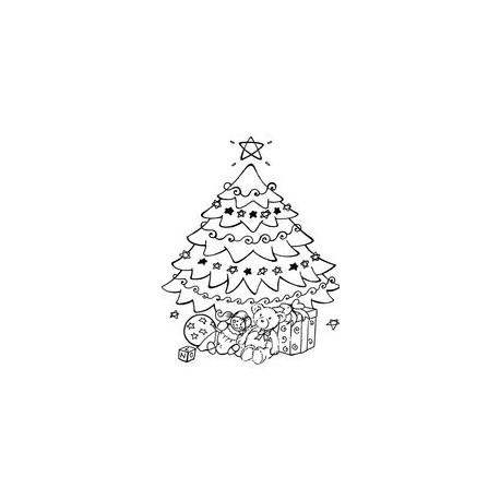 Timbro Legno Aladine - Albero con regali