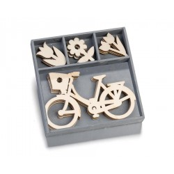 Abbellimenti in legno Cart-Us - Bicicletta e Fiori