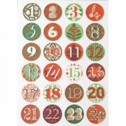 Bottoni Rico Design in metallo - Calendario Avvento rosso/verde