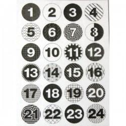 Bottoni Rico Design in metallo - Calendario Avvento bianco/nero