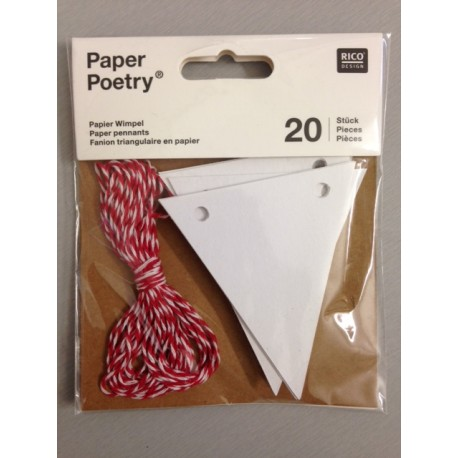 Kit Tags Paper Poetry Rico Design - Pennants White