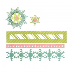 Fustella Sizzix Thinlits - Winter Borders & Rosette