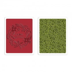 Embossing Folder Tim Holtz - Greetings & Greens Set NEW