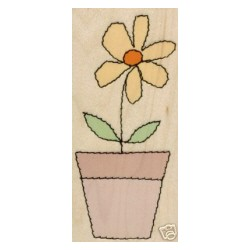Timbro legno Hero Arts - stitched flower pot