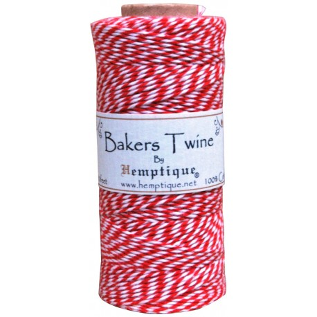 Bakers Twine by Hemptique Crafters - Light Red & White